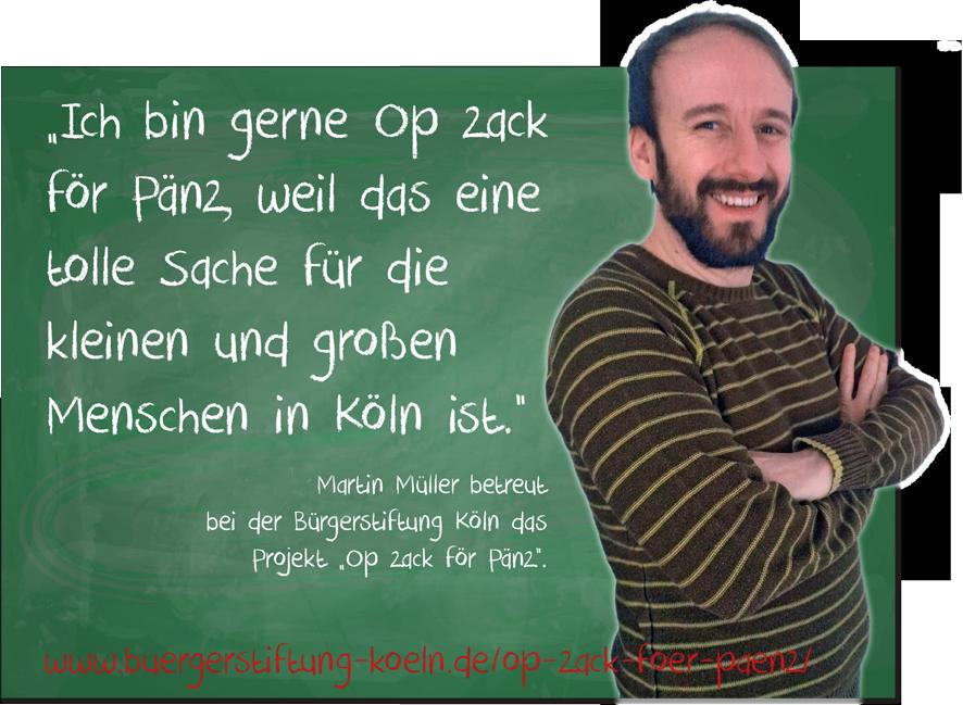 """Martin Müller ist """"Op zack"""" für die Projektbetreuung bei der Bürgerstiftung Köln"""